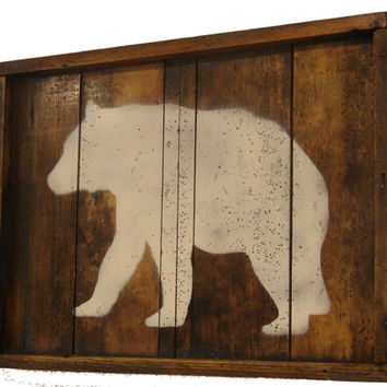 ON SALE Reclaimed Wood Wall Art - Rustic Wall Art - Bear - Home Decor