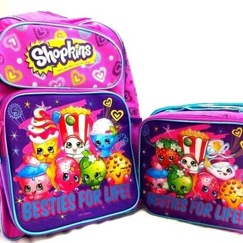 "Moose Shopkins Large School Backpack 16"" Purple Bag Plus Lunch Bag Set"