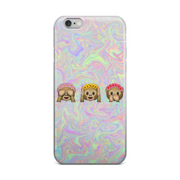 Flower Crown Monkey Emoji Teen Cute Girly Girls Tie Dye Bleach Sky Blue Purple & Pink iPhone 4 4s 5 5s 5C 6 6s 6 Plus 6s Plus 7 & 7 Plus Case