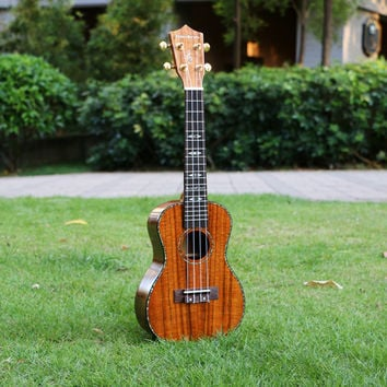 23 inch Concert Ukelele Solid KOA uke mini guitarra ukulele handcraft wooden great sound guitar music instruments Free shipping