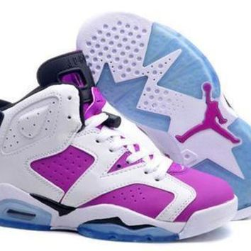Hot Air Jordan 6 Retro Women Shoes White Royal Blue