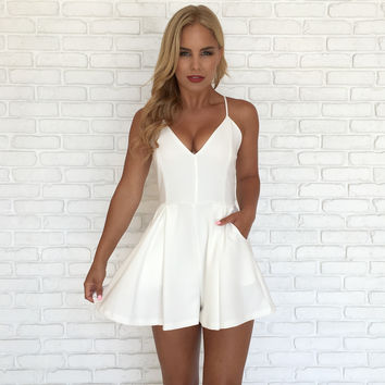 Gift Giving Lace Romper In White