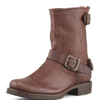 Veronica Short Back-Zip Boot, Dark Brown