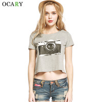 OCARY Harajuku Women Blouse Camera Print Shirts Summer Ladies Crop Tops Fashion Blouses Blusas Mujer 2016 Plus Size Chemisier