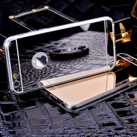 Gold Luxury Metal Brush Bing Mirror Case For Iphone 6 6 6S 4.7inch / Iphone 6 6S Plus 5.5inch Clear TPU Frame + Soft Back Cover