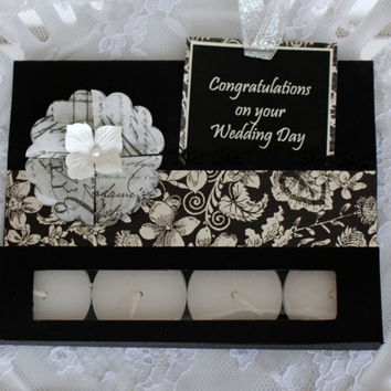 Handmade Wedding Congratulations Card, Tealight Candle Card, Gift card holder Wedding Greeting Card