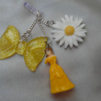Large hanging belle beauty and the beast Disney princess yellow bow daisy dangle chain charm pluggy cell dust cap cover jack