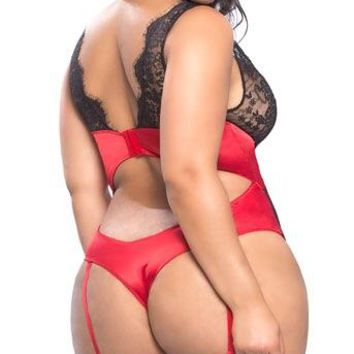 PLUS SIZE ARABELLA SATIN AND LACE TEDDY