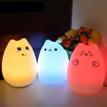 Colorful Cat Silicone LED Night Light Rechargeable with Touch Sensor