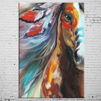 Horse Oil Painting Animal Canvas Print - Wall Art Decor