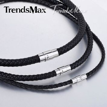 4/6/8mm 14-40inch Black Braided Cord Rope Chain Man-made Leather Necklace Stainless Steel Clasp UNM09
