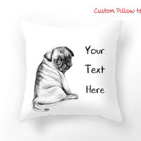 White Personalized Decorative throw pillow cover, Customized pillow case, dog pillow with quote, home decoration, inspirational quote