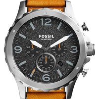 Men's Fossil 'Nate' Chronograph Leather Strap Watch, 45mm - Tan/ Black