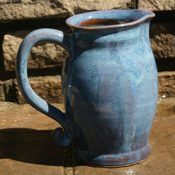 Blue and Purple Pitcher - hand thrown stoneware pottery