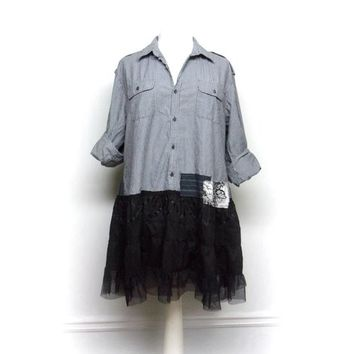 Plus Size Clothing, Long Boho Tunic,  2XL Clothing, Ruffle Tunic, Loose Fit Shirt, Upcycled Clothing for Women by Primitive Fringe