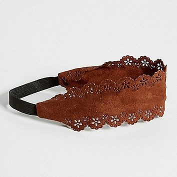 faux suede headwrap with laser cut design in brown | maurices