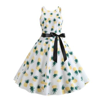 Summer Pin Up Fruits Butterfly Print Women Retro Dress Round Neck Sleeveless Cotton Blends Vintage Dress Party Vestidos