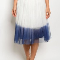 Lexe Navy Dipped Tulle Midi Skirt