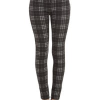 ModCloth 90s Long Skinny Grab a Good Read Pants in Grey Plaid