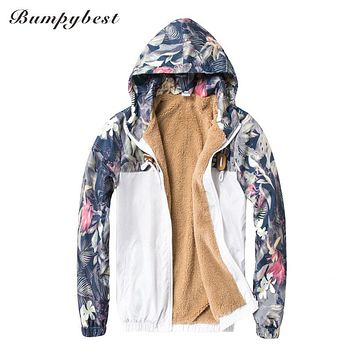 Floral Bomber Jacket Men Hip Hop Slim Fit Flowers Pilot Bomber Jacket Coat Men's Hooded Jackets