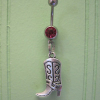 Belly Button Ring - Body Jewelry - Silver Cowgirl with Pink Gem Stone Belly Button Ring