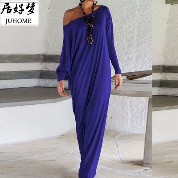 Plus Size Summer Casual Long Dresses one shoulder Loose Shift Dresses blue o Neck long Sleeve elegant Maxi floor length vestidos