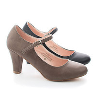 Sandy4 Almond Toe Mary Jane Extra Comfort Insole Dress Heels