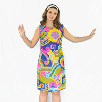 60s mod dress. Vintage day dress.  Yellow, hot pink, blue, turquoise. Bright geometric dress. Psychodelic print dress. Mad Men fashion.