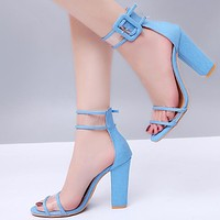 New fashionable large-sized, thick-heeled, buckled, sexy women's high-heeled sandals Blue