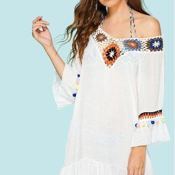 White Hollow Out Crochet Panel Pom Pom Cover Up