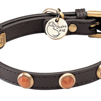 Pebbies Faceted Gold Sand Stone Dog Collar