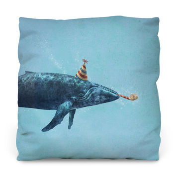 Party Whale Outdoor Throw Pillow