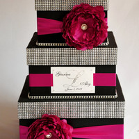 Card box / Wedding Box / Wedding money box - 3 tier - Personalized - Black