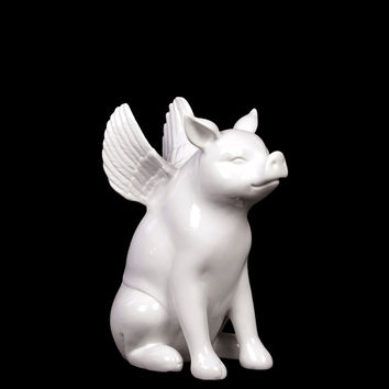 Magnificent Ceramic Sitting Pig W/ Wings In White Small