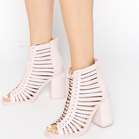 ASOS END IT Strippy Lace Up Peep Toe Ankle Boots