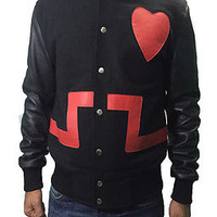 Chris Brown Valentine Day's Red Heart Black Jacket - 100% Money Back Guarantee..