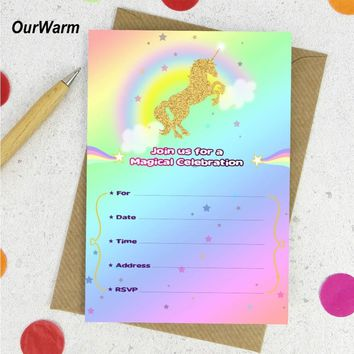 OurWarm 10pcs Unicorn Invitations Card Unicorn Birthday Party for Kids Baby Shower 1st Birthday Party Invitations Card Envelope