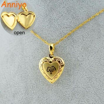 DCCKL6D Anniyo Heart Allah Necklace Pendant for Women Muslim  Jewelry For Men,Gold Color Islam Chain Necklaces Prophet Muhammad