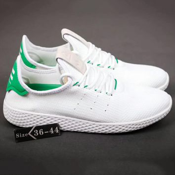 Adidas Pharrell Tennis HU Women Men Running Sport Casual Shoes Sneakers White-Green G-SSRS-CJZX