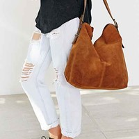Kimchi Blue Suede Zip Lip Tote Bag- Brown One