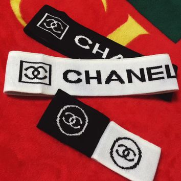 """Chanel"" Unisex Fashion Stretch Knit Letter Headband Headkerchief Couple Hair Ornaments Wristband Set Two-Piece"