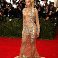 New Hot Sexy See Through Rhinestone Crystal Mermaid Evening Dresses 2015 Long Sleeve Formal Evening Gown beyonce met gala