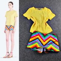 Yellow Elastic Waist Top And Wave Print Mini Short