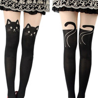 Women's Ladies Black Cat Kitten Face front Legs Back Silk Stockings Pantyhose Halloween cat sexy