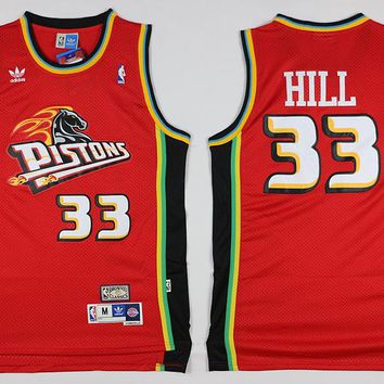 Best Deal Online Classic NBA Basketball Jerseys Detroit Pistons #33 Grant Hill Red