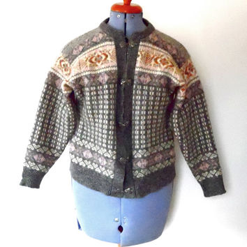 Wool cardigan / aztec knit / grey / white / gold / pink / diamond / vintage / 80s / celtic / silver / chunky / icelandic knitted jacket