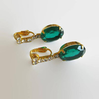Green Drop Earrings, Vintage, Emerald Green, Icy Clear Rhinestones & Brass Dangles, Wedding, Prom!