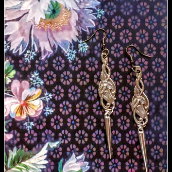 Handmade long statement  silver spoon earrings with clear crystals