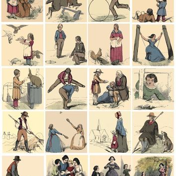 victorian life people printable digital printable collage sheet clip art men women children 2 inch squares for pendants pins magnets cards