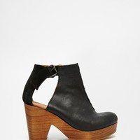 Free People Black Leather Clog Ankle Boots at asos.com